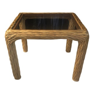 Vintage Mid-Century Twisted Pencil Reed and Rattan End Table For Sale