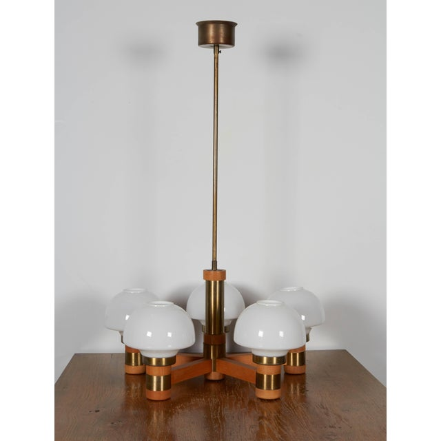 Mid 20th Century Mid-Century Teak and Brass Five-Light Chandelier For Sale - Image 5 of 8