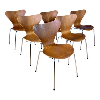 1970s Fritz Hansen for Arne Jacobsen Series 7 Teak Dining Chairs- Set of 6 For Sale