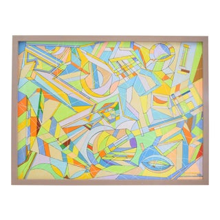 Aaron Marcus Abstract Geometric Oil on Canvas For Sale