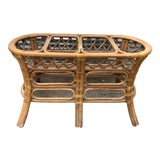 Image of Vintage Boho Chic Rattan Leather Wrapped Table Base For Sale