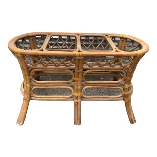Vintage Boho Chic Rattan Leather Wrapped Table Base For Sale