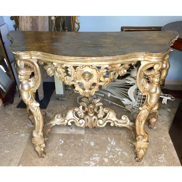 18th Century Itlian Baroque Silver Gilt Console Table For Sale - Image 9 of 10