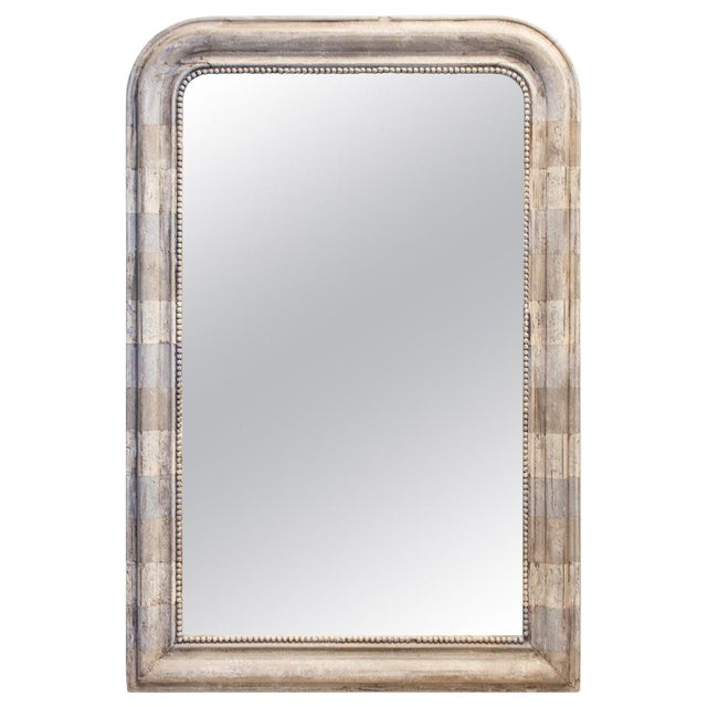 Antique French Louis Philippe Mirror With Hand Painted Greige Stripe Finish For Sale