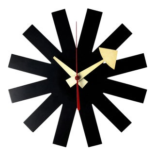 Vintage 1950's George Nelson Howard Miller Black Asterisk Clock For Sale