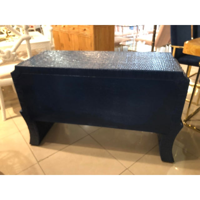 Vintage Blue Lacquered Wicker Brass Credenza Chest Console Table For Sale - Image 11 of 13