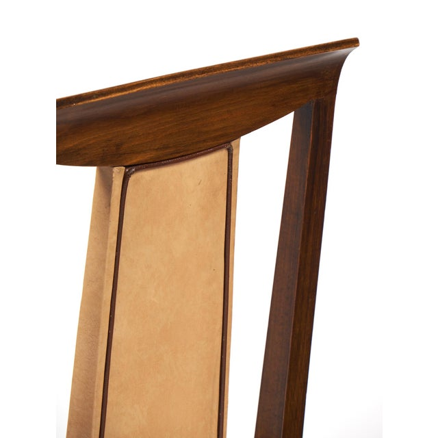 French Art Deco Solid Walnut Dining Chairs- Set of 6 - Image 8 of 11
