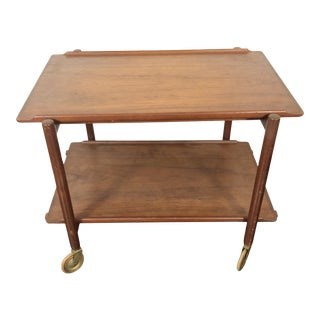 1960s Danish Teak Expanding Server/Bar Cart For Sale