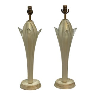 Vintage 1980s Murano Glass Table Lamps - a Pair For Sale