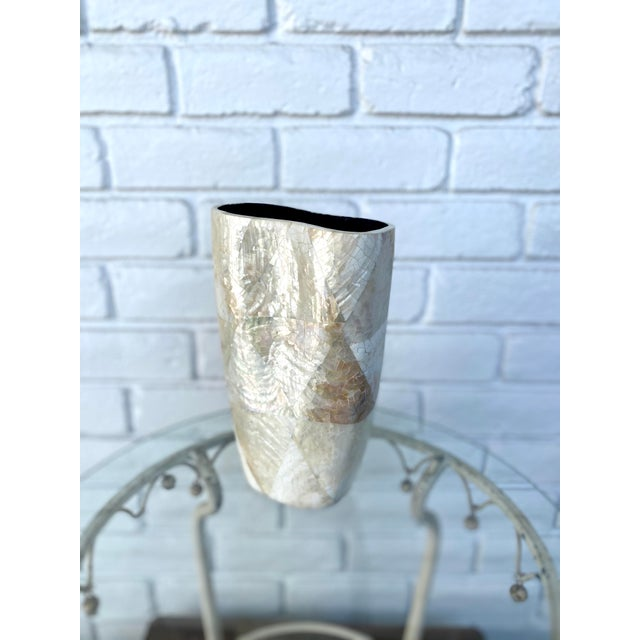 An art deco inspired vase of mother of pearl