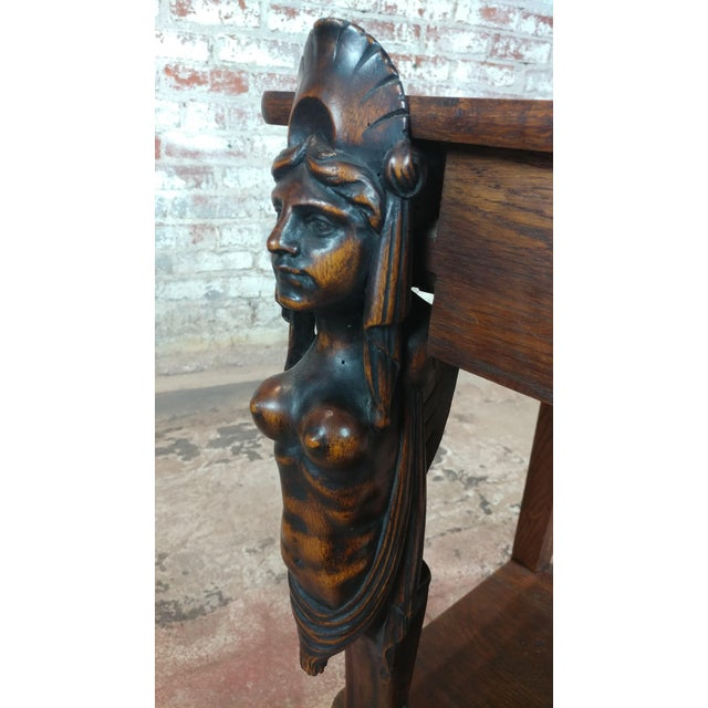 Antique Side table w/two carved Nude Female Figures For Sale - Image 11 of 12