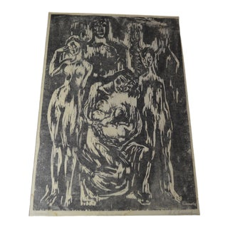 "Emlyn Edwards ""Family Group"" Original Unframed Mid Century Block Print For Sale"