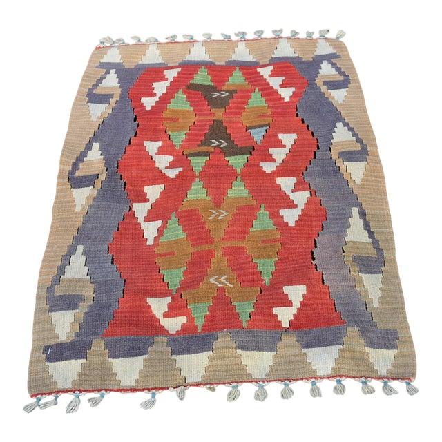 Turkish Traditional Handwoven Anatolian Nomadic Rustic Style Oushak Kilim Rug For Sale