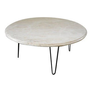 "Vintage Mid Century 36"" Round Italian Marble Coffee Table For Sale"