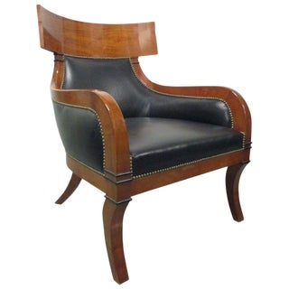 Leather Biedermeier Style Lounge Chair For Sale