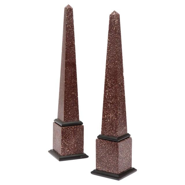 Fine Pair of Italian Grand Tour Egyptian Porphyry Obelisks For Sale