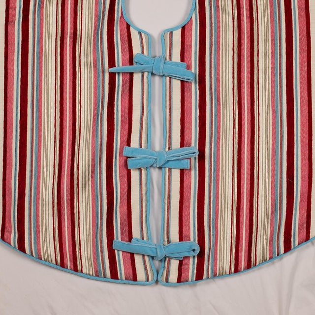 Red Contemporary Red, Pink and Blue Striped Tree Skirt For Sale - Image 8 of 10