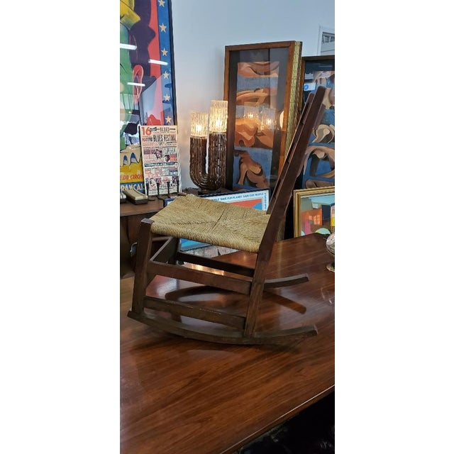 American Gustav Stickely Early Arts & Crafts Mission Oak Youth Rocker Chair For Sale - Image 3 of 13