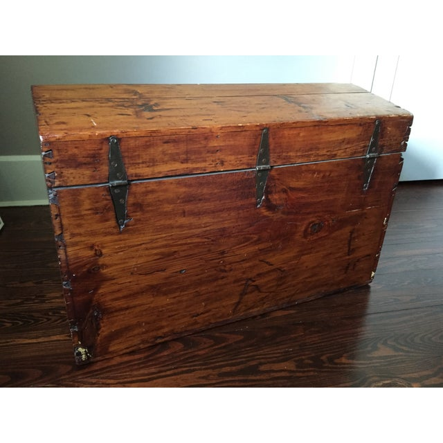 19th-C. Peaked Top Pine Trunk - Image 4 of 6