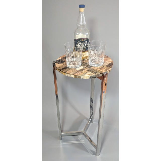 Organic Modern Petrified Wood and Chrome Side Table For Sale - Image 4 of 13