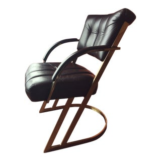 1980s Postmodern Milo Baughman for Cal-Style Leather & Gold Chrome Chair For Sale