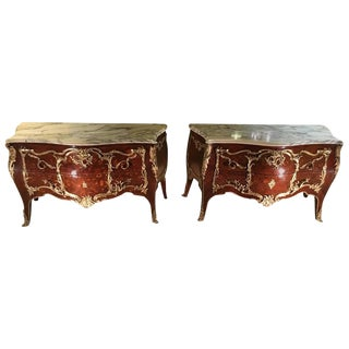 King & Queen Marble-Top Commodes - A Pair For Sale