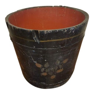 Antique Primitive Maple Sap Bucket With Painted Folk Art For Sale