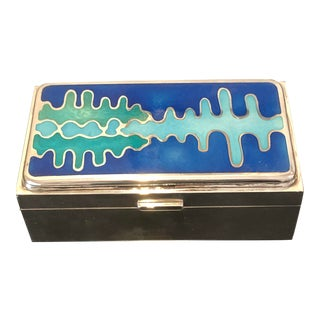Mid Century Modernist Sterling Silver and Enamel Box For Sale
