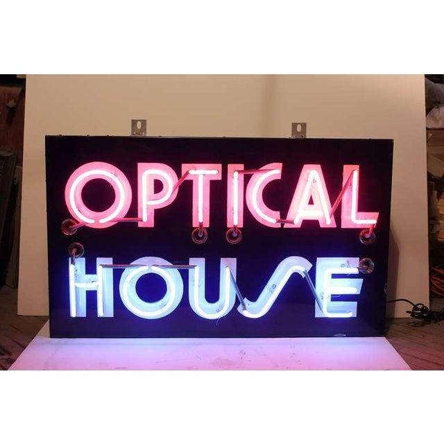 "1950's original neon sign "" Optical House "" with pink and blue neon. New wiring."
