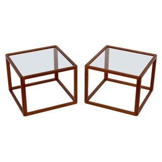 Pair of Kai Kristiansen Teak Cube Side Tables For Sale