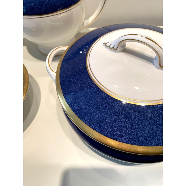 Ceramic Athlone Blue and Gold Coalport China Tea Service - Set of 10 For Sale - Image 7 of 9