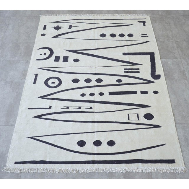 2010s Paul Klee - Heroic Strokes of the Bow - Inspired Silk Hand Woven Area - Wall Rug 4′7″ × 6′4″ For Sale - Image 5 of 12