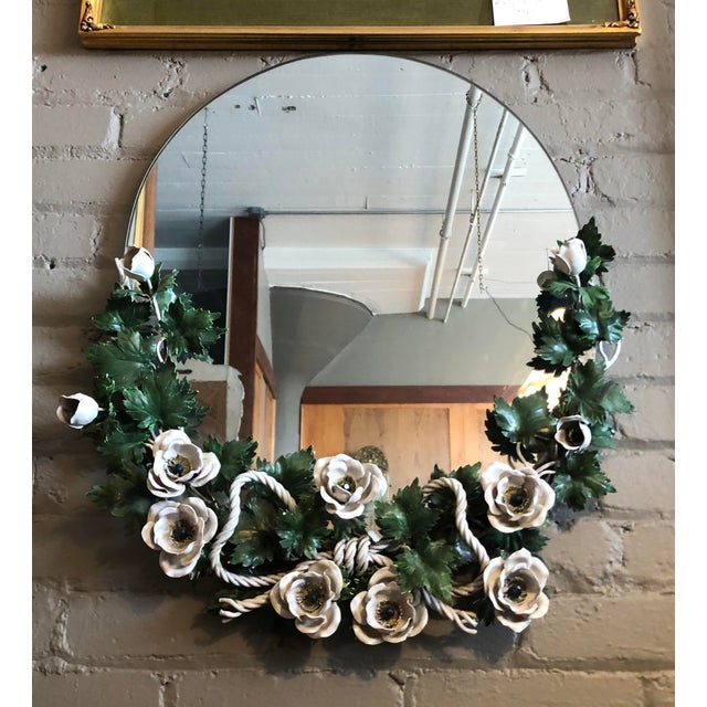 Vintage 1940s Round Hollywood Regency Tole Wall Mirror For Sale - Image 9 of 10