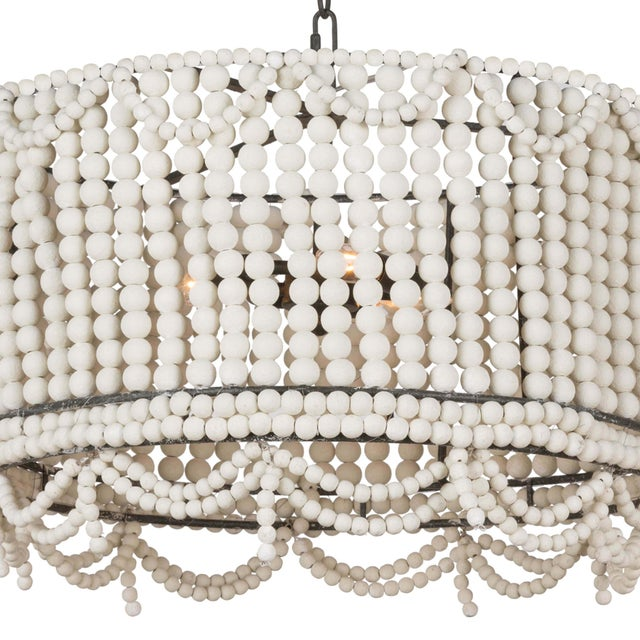 Malibu Drum Pendant in Weathered White For Sale - Image 4 of 7
