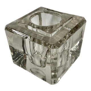 Antique Faceted Heavy Glass Inkwell For Sale