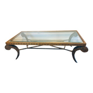 1990s Gold Wrought Iron Coffee Table, Tuscan Style For Sale
