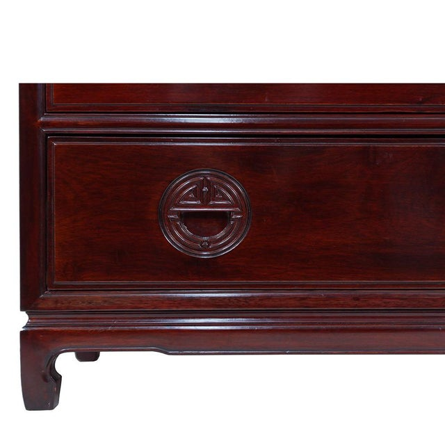 Wood Vintage Chinese Carved Rosewood Chest of Drawers For Sale - Image 7 of 13