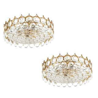 Palwa Pair of Refurbished Gold Plated Brass and Glass Semi Flush Mounts For Sale