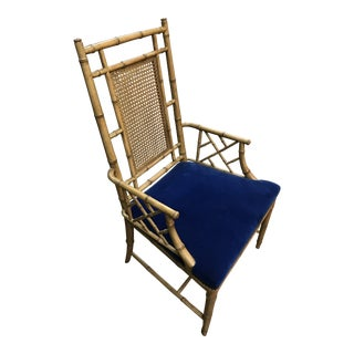 1960s Boho Chic Faux Bamboo Arm Chair For Sale
