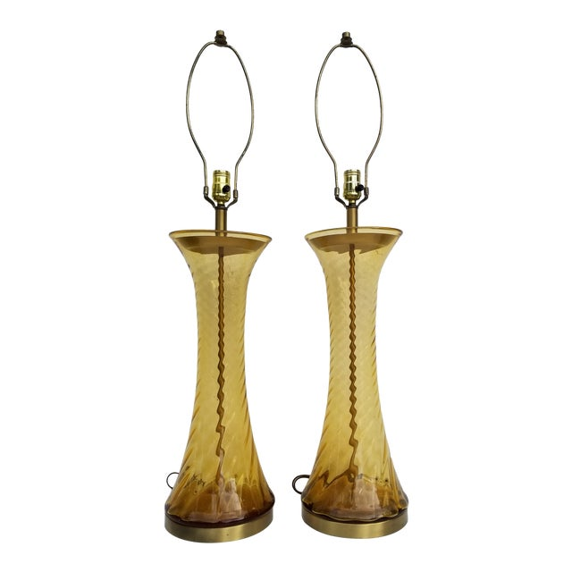 Pair of Tall Vintage Amber Glass Table Lamps For Sale