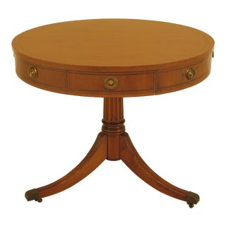 1940s Williams Berkey Vintage Yew Wood Round Drum Table For Sale