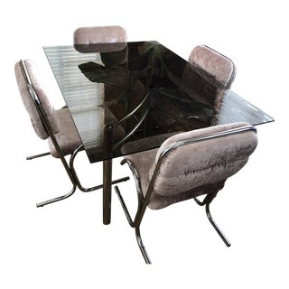 Smokey Glass and Chrome Dining Table With Velvet Chairs For Sale