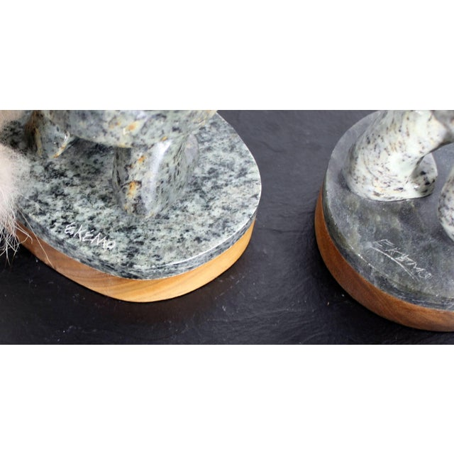 Soapstone Modern Pair of Eskimo Soapstone and Tusk Carving Table Sculptures Signed Ekemo For Sale - Image 7 of 11