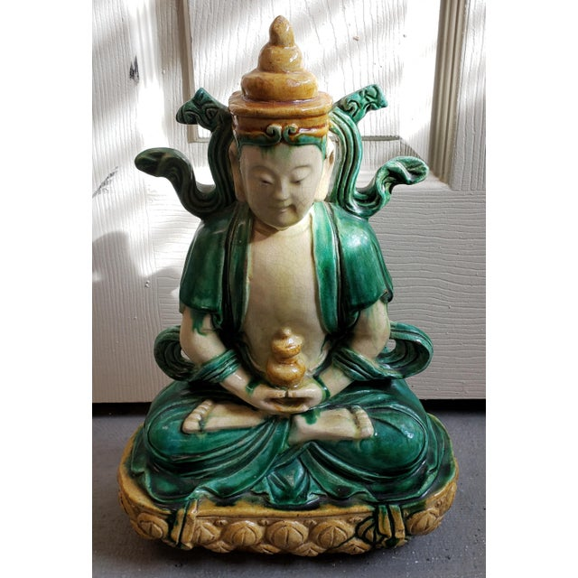 """Up for sale is an Early 20th Century Chinese Buddha on Lotus Throne Sancai Glazed Clay Sculpture! It measures 14 7/8""""..."""