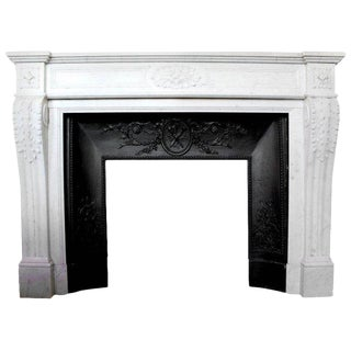 19th Century Antique French Louis XVI Style Carrara Marble Mantel For Sale