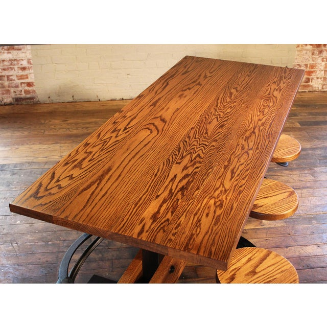 Cast Iron Industrial Swing-Out-Seat Cafe Table For Sale - Image 7 of 9