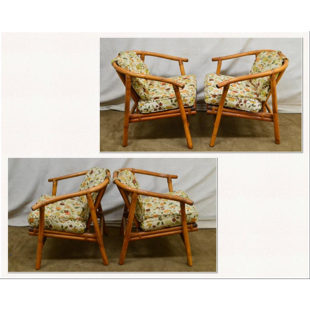 *STORE ITEM #: 18116-ax Ficks Reed Mid Century Pair of Rattan Lounge Chairs AGE / ORIGIN: Approx. 50 years, America...