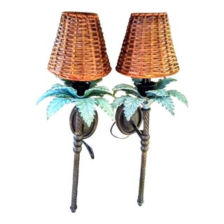 A Pair Palm Beach Regency Palm Tree Cast Iron Electric Wall Sconce Lights For Sale