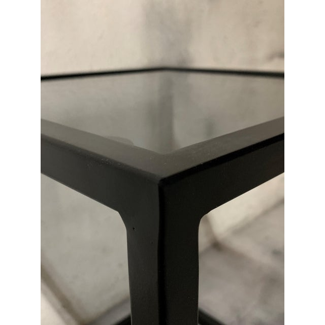 New Modern Square Black Table With Fumee Glass Top, Indoor or Outdoor For Sale In Miami - Image 6 of 7