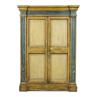Mid-19th Century Mediterranean Painted Yellow and Green Armoire For Sale